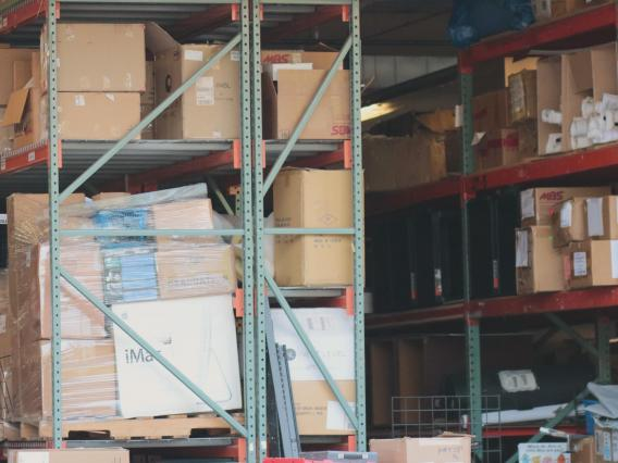 Boxes in a shipping warehouse