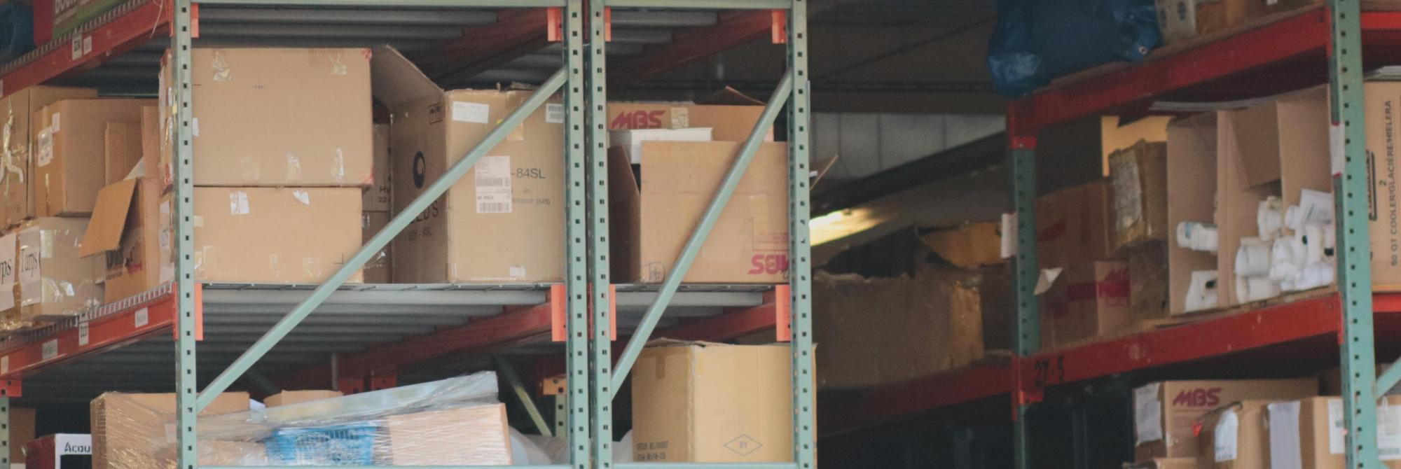 Stacks of shipping boxes