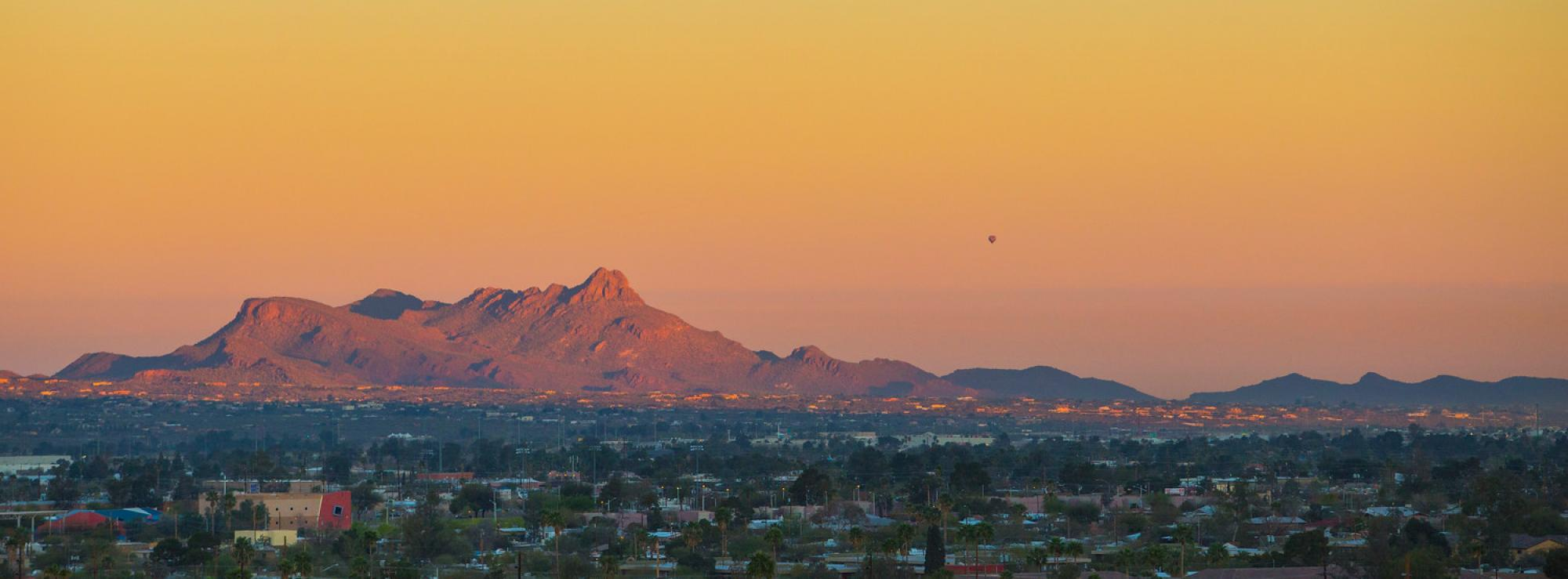 Sunrise shot of the Tucson area from the roof of the Thomas W. Keating Bioresearch Building (BIO5 Institute)